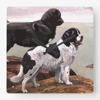 Vintage Painted Newfoundlands Square Wall Clock