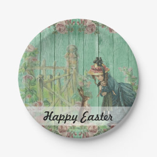 Vintage Painted Rustic Easter Rabbit Scene 7 Inch Paper Plate