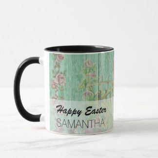 Vintage Painted Rustic Easter Rabbit Scene Mug