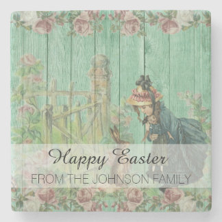 Vintage Painted Rustic Easter Rabbit Scene Stone Coaster