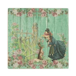 Vintage Painted Rustic Easter Rabbit Scene Wood Coaster