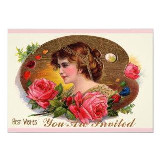 Vintage Painter's Palette And Roses 13 Cm X 18 Cm Invitation Card