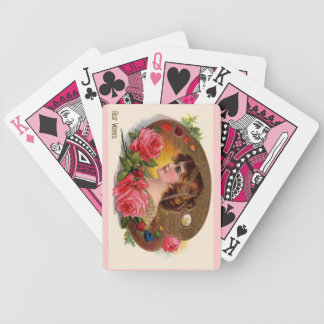 Vintage Painter's Palette And Roses Bicycle Playing Cards