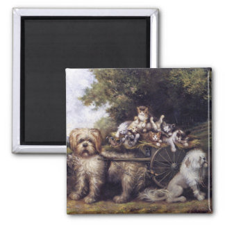 Vintage Painting of Dogs & Cars Touring Provence Magnet