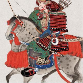 Vintage Painting of Samurai on Horseback Standing Photo Sculpture