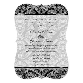 Vintage Paisley Black Damask Weddings Card