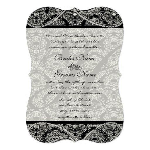 Vintage Paisley Black Damask Weddings Invitations