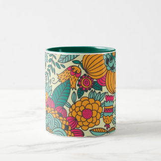 Vintage Paisley Flowers Two-Tone Coffee Mug