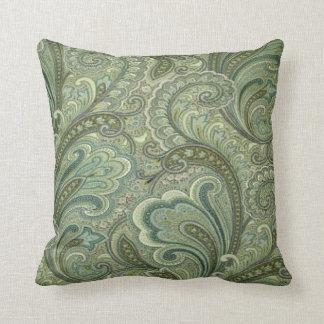 Vintage Paisley Sage MoJo Throw Pillow
