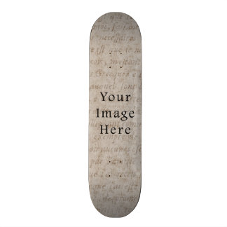 Vintage Pale Brown Tan Script Text Parchment Paper Skate Board