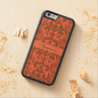 Vintage, pale violet red & sand brown Damask name Carved Cherry iPhone 6 Bumper Case