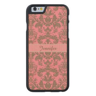 Vintage, pale violet red & sand brown Damask name Carved Maple iPhone 6 Case