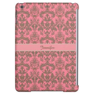 Vintage, pale violet red & sand brown Damask name Case For iPad Air