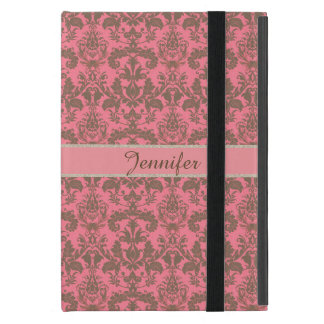 Vintage, pale violet red & sand brown Damask name Case For iPad Mini