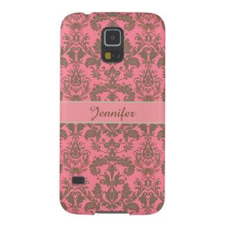 Vintage, pale violet red & sand brown Damask name Galaxy S5 Case