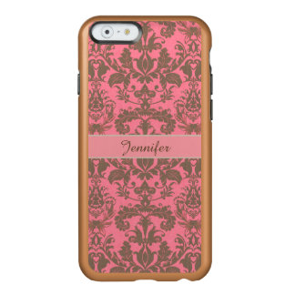 Vintage, pale violet red & sand brown Damask name Incipio Feather® Shine iPhone 6 Case