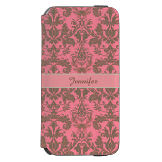 Vintage, pale violet red & sand brown Damask name Incipio Watson™ iPhone 6 Wallet Case