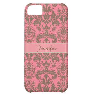 Vintage, pale violet red & sand brown Damask name iPhone 5C Case