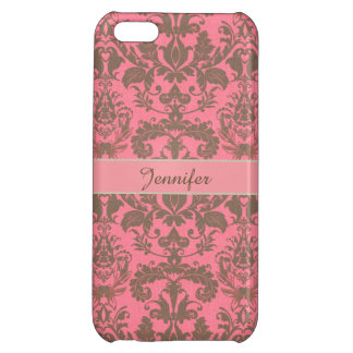 Vintage, pale violet red & sand brown Damask name iPhone 5C Covers