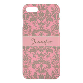 Vintage, pale violet red & sand brown Damask name iPhone 8/7 Case