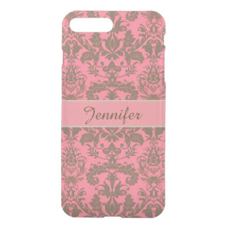 Vintage, pale violet red & sand brown Damask name iPhone 8 Plus/7 Plus Case