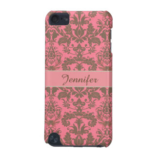 Vintage, pale violet red & sand brown Damask name iPod Touch (5th Generation) Case
