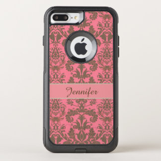 Vintage, pale violet red & sand brown Damask name OtterBox Commuter iPhone 8 Plus/7 Plus Case
