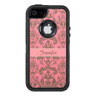Vintage, pale violet red & sand brown Damask name OtterBox iPhone 5/5s/SE Case