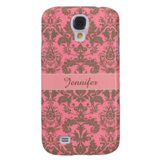Vintage, pale violet red & sand brown Damask name Samsung Galaxy S4 Cover