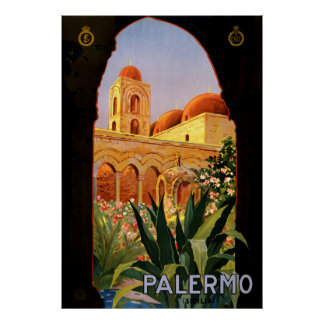Vintage Palermo Italy Travel Poster