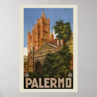 vintage Palermo Sicily Italian travel ad Poster