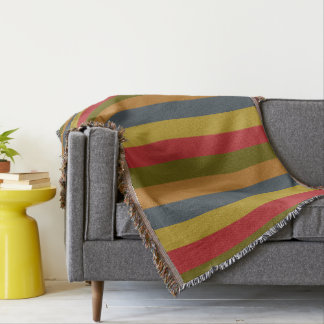 Vintage Palette Stripes Personalized Throw Blanket