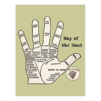 Vintage palm reading palmistry Hand Map Postcard