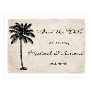 Vintage Palm Tree Beach Save The Date Postcard