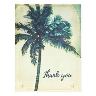 Vintage Palm Tree Beach Thank You Postcard