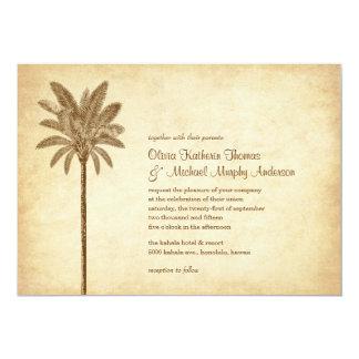Vintage Palm Tree Beach Wedding Invitations
