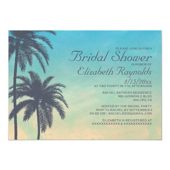 Vintage Palm Tree Bridal Shower Invitations