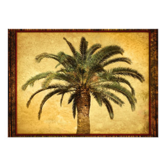 Vintage Palm Tree - Tropical Customized Template Personalized Invitations