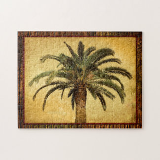 Vintage Palm Tree - Tropical Customized Template Jigsaw Puzzle