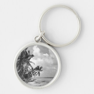 Vintage Palm Trees Silver-Colored Round Key Ring