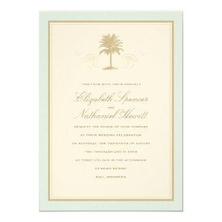 Vintage Palms Wedding Invitation Blue & Orange
