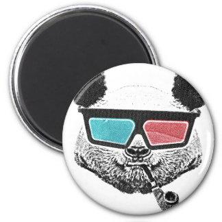 Vintage panda 3-D glasses 6 Cm Round Magnet