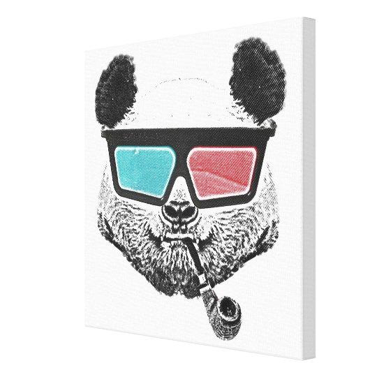Vintage panda 3-D glasses Canvas Print