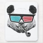 Vintage panda 3-D glasses Mouse Pad