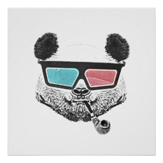 Vintage panda 3-D glasses Poster