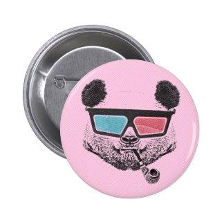 Vintage panda 3D glasses Pinback Button