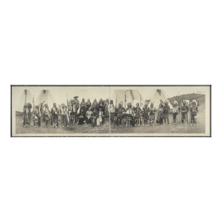 Vintage Panoramic Photograph of Native American Poster