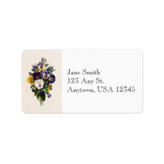 Vintage Pansies Address Labels
