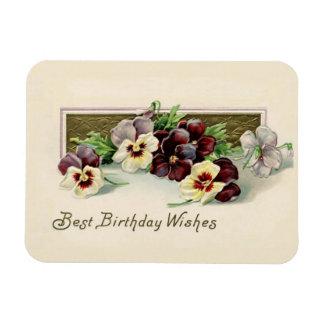 Vintage Pansies Birthday Wishes Magnet