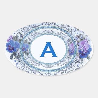Vintage Pansies Floral Monogram Wedding V19 Oval Sticker